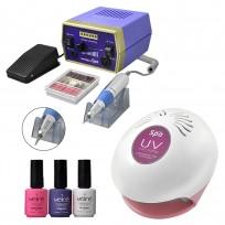 Cabina UV + Torno Profesional + 3 Esmaltes Semipermanentes Meline